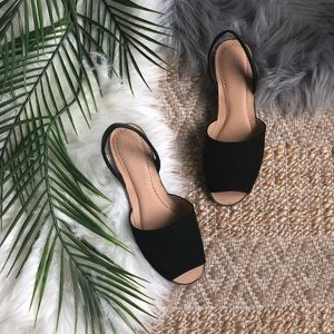 LOFT Black Ankle Strap Sandals